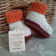Unisex Baby  Aran Booties with wool  0-6 months