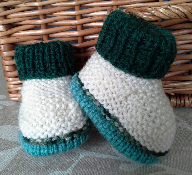 Baby Boys Aran with wool booties 0-6 months