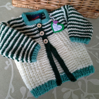 SALE ITEM Luxery Baby Boys Aran Jacket with wool  0-6 months
