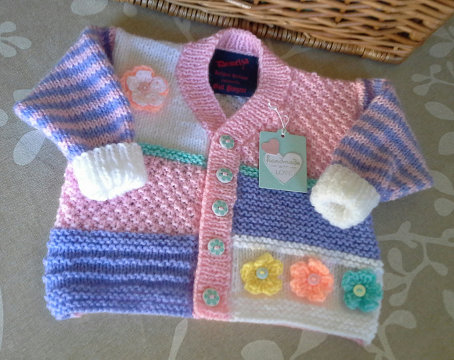 Baby Girl's Patchwork Flower Cardigan 6-12 months