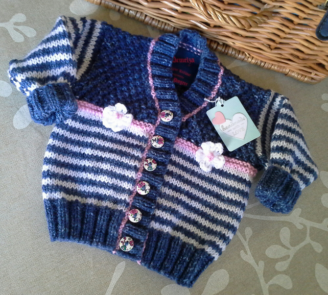 Baby Girl's Denim Blue Stripe  FlowerJacket 6-12 months