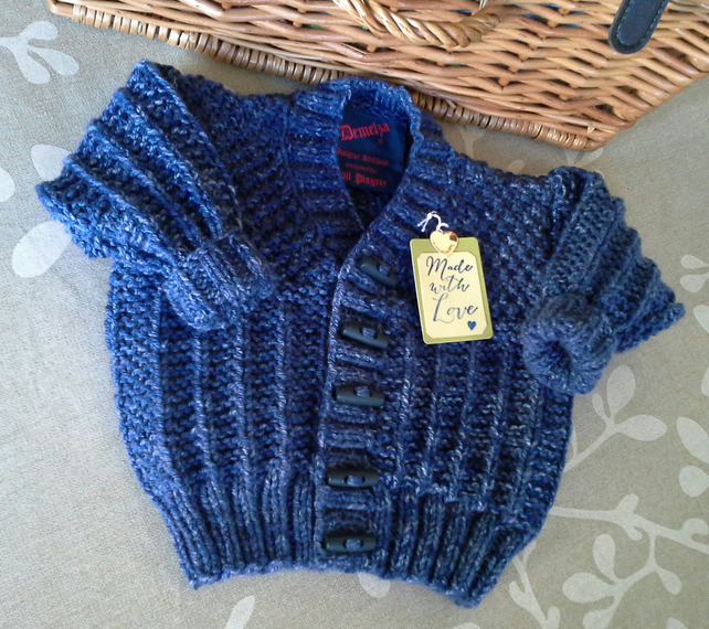 Baby Boys Denim Knitted Jacket  6-12 months
