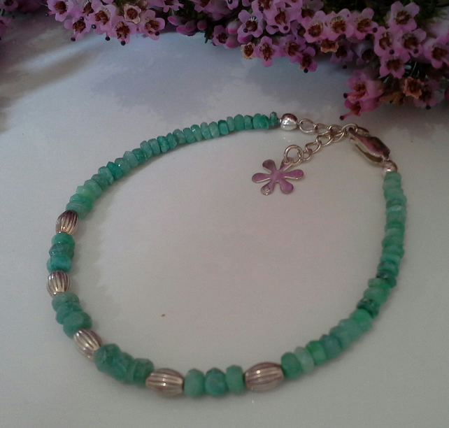 Genuine  Emeralds 925 Sterling Silver  Bracelet