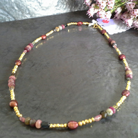 18k Gold Plated Pyrite,  Tourmaline & Freshwater Pearl Vermeil Necklace