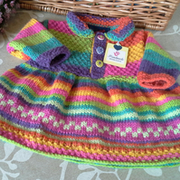 Baby Girls Rainbow Dress  with pure wool  0-6 months size
