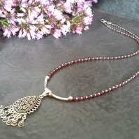 Genuine Rhodolite Garnet 925 Sterling Silver Necklace