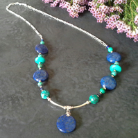 Turquoise &  Lapis Lazuli Necklace 925 Sterling Silver