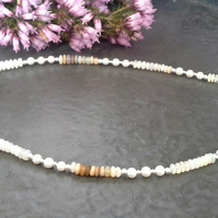 Ethiopian Wello Opals and Freshwater Pearl 925 SS Necklace