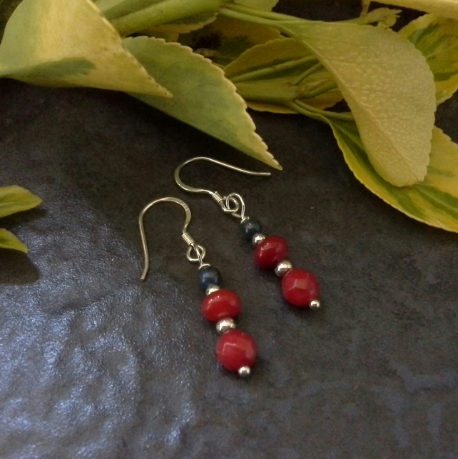 Genuine Coral & Lapis Lazuli Sterling Silver Drop Earrings