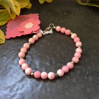 Natural Farmed  Coral Sterling Silver Bracelet