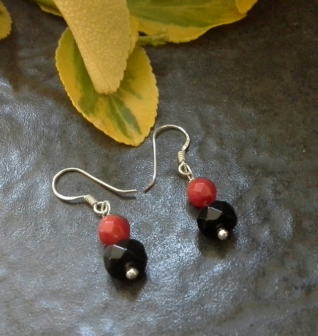 Genuine Coral & Black Onyx Sterling Silver Earrings