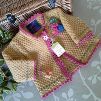 Luxery Baby Girl's Aran Jacket with wool 9-18 months