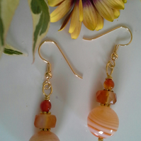 Agate Gold Plated Earrings