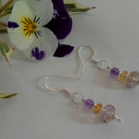 Balivian Ametrine,  Amethyst & Citrine Sterling Silver Earrings