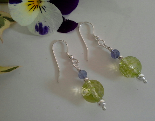 Tanzanite & Peridot Sterling Silver Earrings
