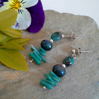Turquoise (Stabilised) Pearl, Dyed Farmed   Coral Sterling Silver Earrings
