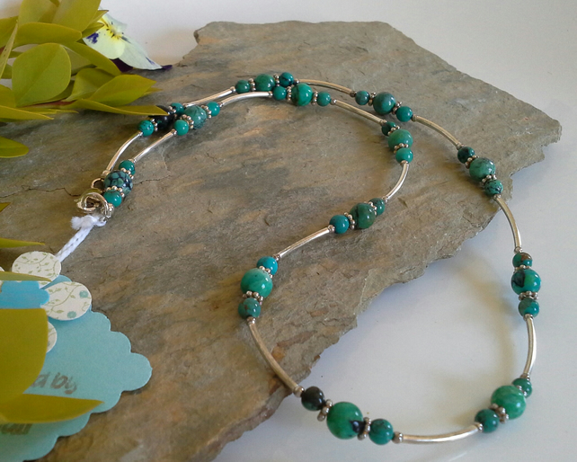 Turquoise (Stabalised) 925 Sterling Silver Necklace