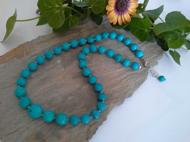 Turquoise (Rec;) Necklace Sterling Silver