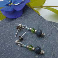 Blue Sapphire, Peridot, Apatite Sterling Silver Stud  Earrings