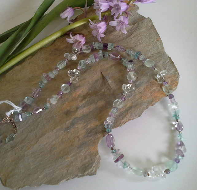 Amethyst,  Prasoilite & Multicoloured Fluorite Sterling Silver Necklace