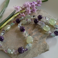 Statement Amethyst,  Prehnite & Florite Sterling Silver Necklace