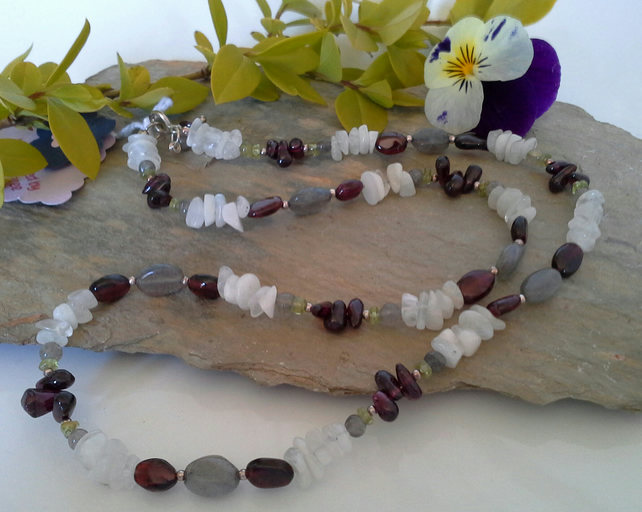 Indian Red Garnet,  Moonstone,  Labradorite & Peridot Sterling Silver Necklace