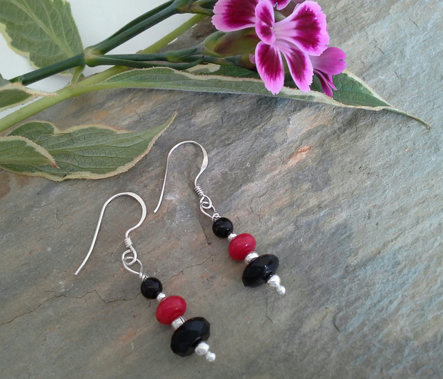 Coral & Black Onxy Sterling Silver Earrings