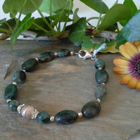 Natural Emerald Sterling Silver Bracelet
