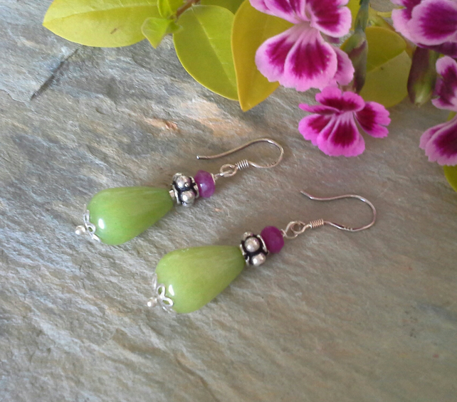 Genuine Dyed  Quarzite Sterling Silver Earrings Wires