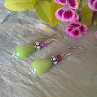 Genuine Dyed  Quarzite Sterling Silver & Silver Plate Earrings