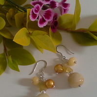 Yellow Opal, Pearls,  Yellow Jade & Flourite Cluster Earnings 925 SS