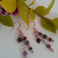 Ruby, Pink Sapphire,  Rhodolite Garnet Rose Gold Vermeil Earrings