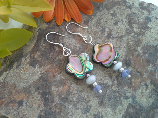 Abalone Shell, Tanzanite & Aquamarine sterling silver earrings