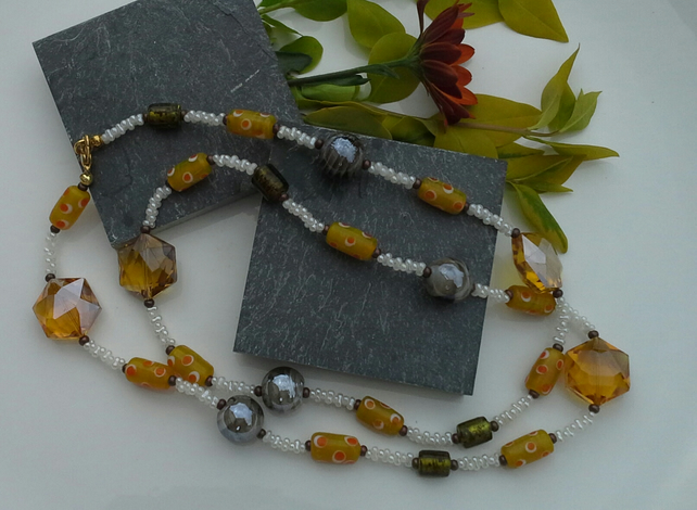 Multi Coloured Glass Long Necklace