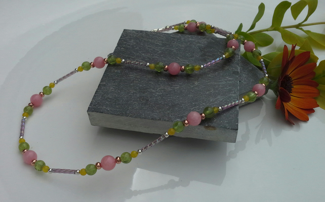Genuine Peridot,  Dyed Quartz & Quartzite Necklace & Earings set