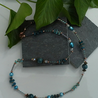 Apatite,  Freshwater Pearl & Glass Bead Necklace Rose Gold Plate