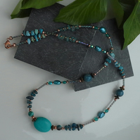 Apatite, Freshwater Pearl,  Turquoise, Glass Bead Necklace