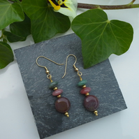 Fancy Jasper Gold Plate Earrings