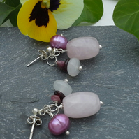 Rose Quartz, Tourmaline, Freshwater Pearls Sterling Silver Earrings