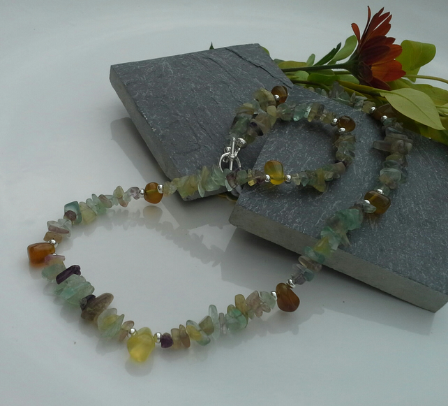 Multi Coloured Fluorite & Yellow Chalcedony Necklace
