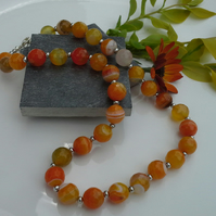 Statement Faceted Agate Sterling Silver Plate Necklace
