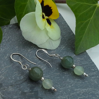 Rare Burmees Jadeite & Chinese Jade Sterling Silver Earrings