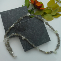 Labradorite & White Moonstone Drops Silver Plate Necklace