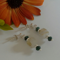 Emerald & Rutilated Golden Quartz Sterling Silver