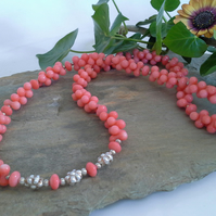 Peach Coral Sterling Silver Necklace