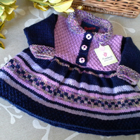 Luxery Baby Girl's Knitted Dress with natural fibre mix  yarns  0- 6 months