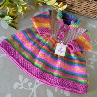 Baby Girl's Rainbow Knitted Dress with Marino wool   0- 6 months size