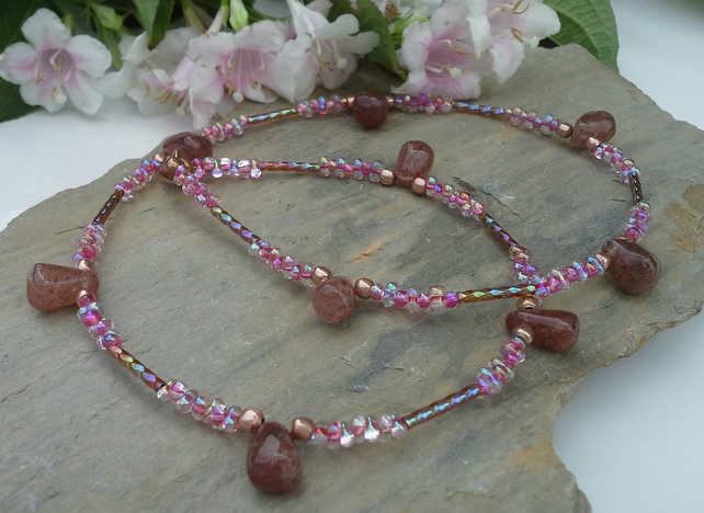 Peach Moonstone & Seed Bead  Rose Gold Plate Necklace
