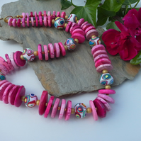Statement Howelite &  Hand Made Polymer Clay bead  necklace
