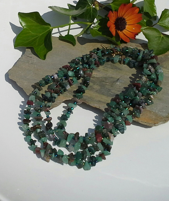 "Green Aventurine & Mixed Fancy Jasper  Nugget  60"" inch Necklace & Earrings"